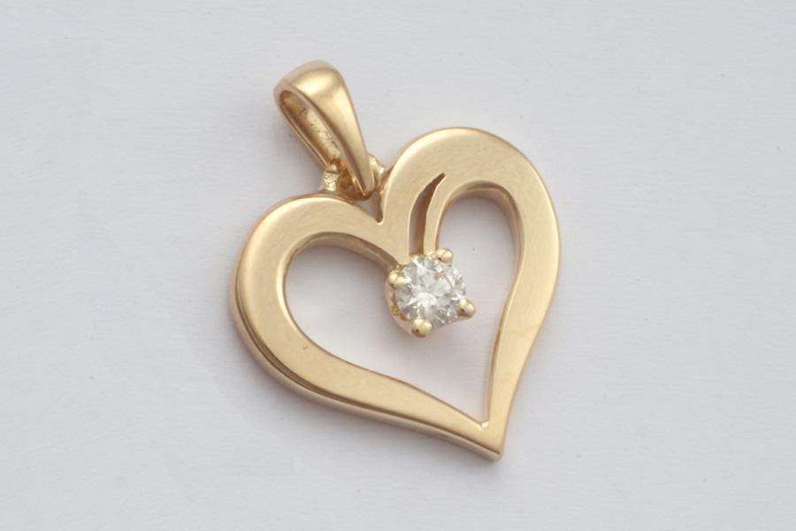 pendentif coeur, or et diamant