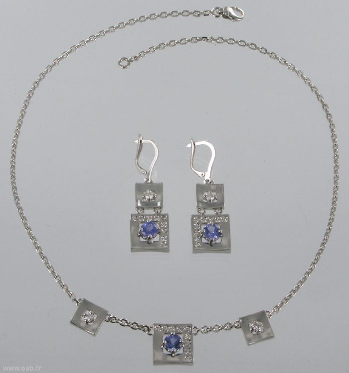 collier et boucles d'oreilles tanzanite set diamants